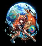 1girl absurdres animal_ears black_background blue_eyes danganronpa dgrp_(minhduc12333) earth eyebrows_visible_through_hair fire firefox firefox_(merryweather) fox_ears fox_tail full_body gradient_hair highres internet_explorer_(webcomic) komatsuzaki_rui_(style) looking_at_viewer multicolored_hair open_mouth orange_hair parody parted_lips personification sailor_collar short_hair simple_background socks solo style_parody tail teeth