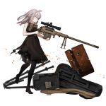 1girl ahoge aiming alternate_costume astg bangs bare_shoulders black_dress black_legwear bolt_action cheytac_m200 closed_mouth damaged dress footwear_removed from_side full_body girls_frontline grey_hair gun hair_between_eyes holding holding_gun holding_weapon m200_(girls_frontline) magazine_(weapon) medium_hair official_art pantyhose rifle scope serious shell_casing sidelocks sleeveless sleeveless_dress sniper_rifle solo standing standing_on_one_leg suitcase torn_clothes torn_dress torn_legwear trigger_discipline violet_eyes weapon