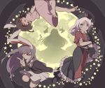 4girls :d animal_ears bare_legs barefoot brown_hair crossed_arms dress finger_gun floating floating_hair full_body full_moon grey_eyes houraisan_kaguya inaba_tewi joniko1110 leg_up long_hair looking_at_viewer looking_to_the_side medium_hair moon multiple_girls muted_color open_mouth pink_dress purple_hair rabbit_ears red_eyes reisen_udongein_inaba shadow shirt shoes silver_hair smile star_(sky) touhou very_long_hair violet_eyes white_shirt yagokoro_eirin