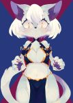 1girl :< animal_ear_fluff animal_ears animal_nose bare_shoulders blue_fur blue_pawpads blush breasts cat cat_ears cat_girl cat_tail claws commentary_request cowboy_shot eyebrows_visible_through_hair furry hair_between_eyes highres hoko_(coornxx) looking_at_viewer medium_breasts navel original pawpads red_claws short_hair simple_background slit_pupils solo tail two-tone_fur white_fur white_hair yellow_eyes