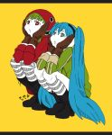 2girls asaiasa0 blue_eyes blue_hair boots expressionless eye_print full_body gloves green_hair green_hoodie gumi hands_on_own_cheeks hands_on_own_face hatsune_miku headphones high_heel_boots high_heels hood hooded_sweater kneehighs long_hair looking_up matryoshka_(vocaloid) multicolored multicolored_eyes multiple_girls parted_lips red_eyes red_hoodie red_sweater squatting striped striped_legwear sweater teeth_print twintails very_long_hair vocaloid white_skin yellow_background