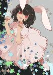 1girl animal_ears black_hair bunny_girl carrot_necklace curly_hair dress from_above grin highres inaba_tewi joniko1110 looking_at_viewer paw_pose puffy_short_sleeves puffy_sleeves rabbit_ears red_eyes short_sleeves smile socks solo star_(symbol) touhou white_dress white_legwear