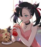 1girl ^_^ ^o^ asymmetrical_bangs bangs bare_arms black_hair blush choker closed_eyes collarbone cookie dress drinking drinking_straw earrings eating food gen_8_pokemon green_eyes hair_ribbon holding jewelry long_hair looking_at_another mary_(pokemon) milkshake morpeko morpeko_(full) namakawa pink_dress plate pokemon pokemon_(creature) pokemon_(game) pokemon_swsh red_ribbon ribbon shiny shiny_hair sitting sleeveless sleeveless_dress table upper_body