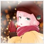 1girl :o alternate_hairstyle blurry blurry_background border cabbie_hat character_hat_ornament coat commentary_request gloves green_eyes hands_together hat hat_ornament highres hood katou_asuka kuroki_tomoko long_hair looking_at_viewer mochamillll pink_hair pink_scarf red_gloves scarf solo upper_teeth watashi_ga_motenai_no_wa_dou_kangaetemo_omaera_ga_warui! white_border winter_clothes yellow_coat