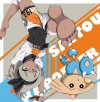 1girl :o barefoot black_bodysuit black_bow black_hairband blue_eyes blush bodysuit border bow breasts character_name commentary covered_navel dark_skin eyebrows_visible_through_hair feet feet_out_of_frame gen_2_pokemon gloves grey_hair gym_leader hairband hairband_bow handstand highres hitmontop kicking mochamillll partly_fingerless_gloves pokemon pokemon_(creature) pokemon_(game) pokemon_swsh saitou_(pokemon) shirt short_hair shorts thick_eyebrows toes upside-down white_border white_shirt white_shorts