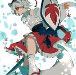 1girl al_bhed_eyes animal_ears between_legs detached_sleeves frills from_below hat highres inubashiri_momiji joniko1110 leaf leaf_print looking_at_viewer maple_leaf maple_leaf_print perspective red_eyes shaded_face shield solo sword tail tail_between_legs tokin_hat touhou weapon white_hair white_legwear wide_sleeves wolf_ears wolf_tail