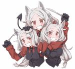 3girls :d animal_ear_fluff animal_ears arm_garter black_gloves black_neckwear black_tail blush breast_grab breasts cerberus_(helltaker) collared_shirt commentary_request demon_girl demon_tail dog_ears dog_girl eyebrows_visible_through_hair fang fork gloves grabbing grin hand_on_another's_head hand_on_breast helltaker highres knife long_hair looking_at_viewer low-tied_long_hair medium_breasts multiple_girls necktie neckwear nwon'yo_pasun open_mouth red_eyes red_shirt shirt siblings simple_background sisters small_breasts smile tail triplets upper_body waistcoat white_background white_hair