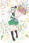 1girl ahoge bangs belt black_hairband black_legwear black_neckwear black_ribbon blue_ribbon blunt_bangs blush bob_cut bouquet brown_belt brown_footwear collared_shirt commentary confetti crown eyebrows_visible_through_hair flower full_body green_eyes green_vest grey_hair hairband highres hitodama_print holding holding_bouquet holding_flower kneehighs konpaku_youmu konpaku_youmu_(ghost) mary_janes messy_hair neck_ribbon open_mouth party_popper petticoat puffy_short_sleeves puffy_sleeves ribbon shirt shoes short_hair short_sleeves silver_hair skirt skirt_set solo sweatdrop tatutaniyuuto touhou vest wavy_mouth white_shirt