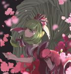 1girl bangs blunt_bangs blurry cherry_blossoms depth_of_field dress flower from_side green_eyes green_hair hair_ribbon highres joniko1110 kagiyama_hina looking_up outstretched_arm outstretched_hand puffy_short_sleeves puffy_sleeves ribbon short_sleeves solo tied_hair touhou