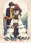 1boy 1girl ariake_aria arm_belt arms_behind_back arsene_lupin_(code:realize) black_suit bouquet bow bowtie brown_hair brown_legwear cardia_beckford closed_eyes code:realize facing_another flower formal frills gear_hair_ornament hetero holding holding_flower kiss standing suit thigh_strap vest yellow_bow yellow_vest