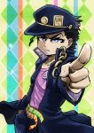 1boy belt black_hair blue_eyes chain chamaji frown gakuran hand_in_pocket hat jojo_no_kimyou_na_bouken kuujou_joutarou male_focus patterned_background pointing pointing_at_viewer school_uniform serious solo sparkle_background star-shaped_pupils star_(symbol) stardust_crusaders symbol-shaped_pupils upper_body
