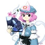 1girl ghost hat highres looking_at_viewer oota_jun'ya_(style) parody perfect_cherry_blossom pink_hair saigyouji_yuyuko short_hair simple_background smile solo style_parody touhou