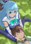 1boy 1girl aqua_(konosuba) blue_eyes blue_footwear blue_hair blue_legwear blue_skirt boots bow breasts brown_hair cape capelet closed_eyes detached_sleeves eyebrows_visible_through_hair from_above green_bow green_cape green_capelet hair_between_eyes hair_ornament hair_rings hand_on_another's_head highres izu_(tea_value_lord) kono_subarashii_sekai_ni_shukufuku_wo! lap_pillow large_breasts long_hair lying lying_on_lap satou_kazuma short_hair sidelocks sitting skirt sleeping sleeping_on_person smile thigh-highs thigh_boots very_long_hair wariza