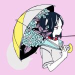 1girl black_hair collar commentary_request cropped_torso expressionless eyelashes flower halftone holding holding_umbrella kayuo leaf leash leash_pull limited_palette medium_hair original pink_background pink_eyes pink_theme school_uniform serafuku short_sleeves simple_background solo speech_bubble umbrella upper_body