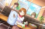 blush brown_hair dress green_eyes idolmaster_cinderella_girls_starlight_stage katagiri_sanae short_hair smile wink