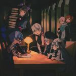 1boy 6+girls ahoge amethyst_(gemstone) arm_belt bandaged_arm bandages bell black_cloak black_dress black_gloves black_headwear black_jacket black_scrunchie black_skirt book book_stack bookshelf bow capelet chair cloak doll_joints double_bun dress facial_scar fate/apocrypha fate/extra fate/extra_ccc fate/grand_order fate_(series) flower fujimaru_ritsuka_(female) fur-trimmed_capelet fur_trim gem glasses gloves gothic_lolita green_bow green_eyes green_ribbon hair_ornament hair_over_one_eye hair_scrunchie hans_christian_andersen_(fate) headpiece highres holding holding_book indoors jack_the_ripper_(fate/apocrypha) jacket jeanne_d'arc_(fate)_(all) jeanne_d'arc_alter_santa_lily joints juliet_sleeves lamp library lolita_fashion long_hair long_sleeves mash_kyrielight multiple_girls murasaki_shikibu_(fate) necktie nursery_rhyme_(fate/extra) one_side_up open_book orange_eyes orange_hair polar_chaldea_uniform puff_and_slash_sleeves puffy_sleeves purple_hair quill ribbon scar scar_across_eye scar_on_cheek scrunchie short_hair shoulder_tattoo side_ponytail single_glove skirt striped striped_bow striped_ribbon tattoo two_side_up very_long_hair violet_eyes white_capelet white_hair wisteria yellow_scrunchie younger zakka_(d-o-t)