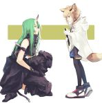 2girls animal_ears arknights arm_ribbon bangs bare_arms bare_shoulders black_choker black_gloves black_jacket black_legwear black_pants black_ribbon black_shirt blue_eyes breasts choker clothes_around_waist commentary_request facial_scar fox_ears from_side full_body geta_(epicure_no12) gloves green_hair highres holding horns hoshiguma_(arknights) jacket jacket_around_waist knee_pads large_breasts long_hair long_sleeves looking_at_another multiple_girls one_knee pants pantyhose profile ribbon scar scar_on_cheek shirt shoes short_hair silver_hair simple_background single_horn sleeveless sleeveless_shirt smile sneakers standing sussurro_(arknights) white_background white_gloves white_jacket yellow_eyes