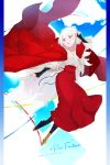 black_legwear blue_eyes cape crise full_body hand_up highres long_hair looking_at_viewer pen pixiv_fantasia pixiv_fantasia_age_of_starlight red_cape red_skirt skirt virginia_(pixiv_fantasia_age_of_starlight) white_hair