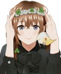 1girl animal_on_shoulder arms_up bangs bird black_bow black_shirt blush bow braid brown_hair closed_mouth clover_hair_ornament collared_shirt eyebrows_behind_hair flower flower_wreath grey_eyes hair_between_eyes hair_ornament head_wreath long_hair long_sleeves looking_at_viewer mattaku_mousuke original shirt simple_background smile solo upper_body white_background white_flower