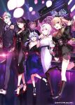 1boy 4girls :d akira_hou balloon black_hair blonde_hair facepaint flower formal hair_between_eyes hand_up horns leg_up lipstick long_hair looking_at_viewer makeup multicolored_hair multiple_girls nijisanji oni oni_horns open_mouth pants purple_hair red_eyes rindou_mikoto short_hair smile suit takamiya_rion twintails virtual_youtuber walking