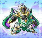 chibi hiro_(hibikigaro) maru_(lagrange) mecha mechanical_wings no_humans one_eye_closed pointing redesign rinne_no_lagrange sd_gundam_gaiden solo vox_aura white_eyes wings