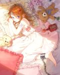 1girl barefoot blue_eyes bottle bow brown_hair chain dress hami_yura highres lying mouth_hold on_bed on_side pill pillow rabbit spill stuffed_animal stuffed_toy teddy_bear white_dress
