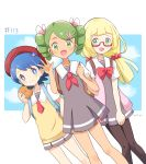3girls blonde_hair blue_eyes blue_hair dark_skin glasses green_eyes green_hair highres lillie_(pokemon) mao_(pokemon) mei_(maysroom) multiple_girls pokemon pokemon_(anime) pokemon_sm113 pokemon_sm_(anime) school_uniform suiren_(pokemon) tagme
