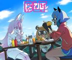 1other 2girls :q animal_ears bear_ears blue_hair blue_shorts brand_new_animal brown_hair cellphone character_request clouds commentary cup dress drinking_glass eating fangs food fork fox_ears fox_girl fox_tail furry highres hiwatashi_nazuna hoyon jacket kagemori_michiru ketchup_bottle long_hair multiple_girls mustard_bottle open_mouth outdoors phone pink_hair plate raccoon_ears raccoon_girl red_eyes red_jacket sandwich short_hair short_shorts shorts sitting sky smartphone smile stool table tail thighs tongue tongue_out track_jacket translated white_dress