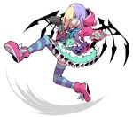 1girl animal_ears black_wings blonde_hair blue_bow blue_eyes blue_legwear blue_nails blue_stripes bow coco_atarashi dress fingernails frilled_dress frills furrowed_eyebrows grin gun hair_dye heart holding holding_gun holding_weapon hood hoodie jacket kicking looking_away pink_footwear pink_hoodie purple_hair sharp_teeth short_hair simple_background smile subarashiki_kono_sekai teeth thigh-highs umesasami weapon white_background wings