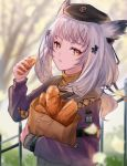 1girl arknights armband bag baguette black_headwear blurry blurry_background bread commentary day eating expressionless eyelashes food hair_ornament haku_wi hat highres holding holding_bag holding_food looking_at_viewer medium_hair orange_eyes orange_sweater outdoors owl_ears paper_bag parted_lips ptilopsis_(arknights) purple_sweater railing rhine_lab_logo ribbed_sweater silver_hair solo sweater tree turtleneck turtleneck_sweater upper_body wristband