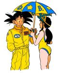 1boy 1girl :d aida_kaiko alternate_costume ass backless_swimsuit bangs bare_arms bare_legs bare_shoulders black_eyes black_hair blunt_bangs chi-chi_(dragon_ball) closed_mouth clothes_writing collared_jacket dragon_ball dragon_ball_(classic) dragon_ball_z eyelashes facing_away fingernails hand_in_pocket hand_up happy holding holding_umbrella jacket legs_together looking_at_another open_mouth pants ponytail profile shadow sidelocks simple_background smile son_gokuu spiky_hair standing star_(symbol) star_print swimsuit two-tone_umbrella umbrella upper_body white_background yellow_jacket yellow_pants yellow_swimsuit yellow_theme