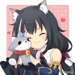 1girl :3 animal_ears bangs bare_shoulders black_hair blue_sleeves blush cat_ears cat_girl cat_tail closed_eyes closed_mouth commentary_request detached_sleeves eyebrows_visible_through_hair facing_viewer hair_ribbon heart holding holding_stuffed_animal karyl_(princess_connect!) long_hair long_sleeves low_twintails miicha multicolored_hair photoshop_(medium) princess_connect! princess_connect!_re:dive purple_ribbon rainbow_gradient ribbon shirt sleeveless sleeveless_shirt sleeves_past_wrists solo streaked_hair stuffed_animal stuffed_cat stuffed_toy tail tail_raised twintails twitter_username upper_body white_hair white_shirt