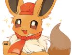 :3 blush brown_outline brown_sclera cabbie_hat commentary_request eevee gen_1_pokemon hand_up happy hat looking_up neckerchief no_humans open_mouth poke_ball_symbol poke_ball_theme pokemon pokemon_(creature) pokemon_(game) pokemon_cafe_mix red_headwear red_neckwear simple_background smile socono_noa solo sparkle white_background white_eyes