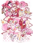 6+girls amulet_heart arm_up bell bell_collar bishoujo_senshi_sailor_moon bow bubble_skirt cat character_request cheerleader chibi_usa choker circlet collar color_connection copyright_request crescent crescent_earrings crossover diana_(sailor_moon) earrings elbow_gloves eyebrows_visible_through_hair flower frilled_skirt frilled_sleeves frills gloves hair_ornament hair_ribbon heart heart_choker heart_hair_ornament hinamori_amu holding jewelry kaname_madoka kooribinu korean_commentary long_hair magical_girl mahou_shoujo_madoka_magica multiple_crossover multiple_girls navel neck_ribbon petals pink_choker pink_eyes pink_flower pink_hair pink_legwear pink_neckwear pink_ribbon pink_sailor_collar pink_skirt pink_theme pleated_skirt pom_poms precure profile puffy_short_sleeves puffy_sleeves red_bow red_eyes ribbon sailor_chibi_moon sailor_collar sailor_senshi_uniform shoes short_sleeves short_twintails shugo_chara! simple_background skirt twintails wand white_cat white_gloves white_skirt yellow_choker yellow_eyes