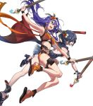 2girls ahoge bangs belt blue_hair braid breasts collarbone eyebrows_visible_through_hair fingerless_gloves fire_emblem fire_emblem:_radiant_dawn fire_emblem_awakening fire_emblem_heroes flower full_body gloves green_eyes hairband hibiscus highres holding marth_(fire_emblem_awakening) mask medium_breasts mia_(fire_emblem) multiple_girls navel official_art sandals see-through stomach swimsuit tied_hair transparent_background yoneyama_mai