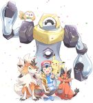 1boy baseball_cap black_hair blue_footwear brown_shorts celebration closed_eyes confetti gen_1_pokemon gen_7_pokemon hand_on_another's_leg happy hat highres holding_trophy looking_at_viewer lycanroc lycanroc_(dusk) male_focus mei_(maysroom) melmetal mythical_pokemon on_shoulder one_eye_closed open_mouth pikachu pokemon pokemon_(anime) pokemon_(creature) pokemon_on_shoulder pokemon_sm_(anime) rowlet satoshi_(pokemon) shirt shoes shorts smile sneakers spiky_hair striped striped_shirt torracat trophy upper_teeth v