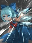 1girl arm_up blue_eyes blue_hair blue_skirt blue_vest cirno commentary cowboy_shot danmaku eyebrows_visible_through_hair furrowed_eyebrows gradient gradient_background grey_background hair_between_eyes hair_ribbon highres ice kayon_(touzoku) leaning_forward light_frown looking_at_viewer neck_ribbon open_hand puffy_short_sleeves puffy_sleeves red_neckwear ribbon serious shirt short_hair short_sleeves skirt solo standing touhou vest white_shirt wings