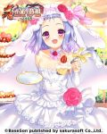 1girl bare_shoulders blue_hair bucchake_(asami) cake choker commentary detached_sleeves dress food fruit jewelry koihime_musou looking_at_viewer open_mouth plate red_eyes ring short_hair smile solo spoon strapless strapless_dress strawberry toutaku veil wedding_band wedding_dress white_dress white_sleeves