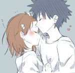1boy 1girl adjusting_another's_hair apron black_hair blue_background blush bob_cut breasts brown_eyes brown_hair closed_eyes face-to-face flower forehead_kiss from_side hair_flower hair_ornament hair_strand hairclip hand_on_another's_chest heart highres himaneko. kiss kiss_day light_frown misaka_mikoto shirt short_hair simple_background small_breasts smile spiky_hair to_aru_kagaku_no_railgun to_aru_majutsu_no_index upper_body white_apron white_flower white_shirt