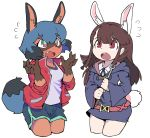2girls absurdres animal_ear_fluff animal_ears arms_up belt black_dress blue_eyes blue_hair blue_shorts brand_new_animal brown_eyes brown_hair bunny_tail claws crossover dress fang flying_sweatdrops furry highres jacket kagari_atsuko kagemori_michiru little_witch_academia long_hair luna_nova_school_uniform menthak0 multiple_girls open_mouth rabbit_ears raccoon_tail red_jacket school_uniform shirt short_dress short_hair short_shorts shorts simple_background tail track_jacket wand white_background white_shirt