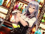 1girl alcohol bartender blush bottle cocktail_glass cup drinking_glass dutch_angle hazumi highres ice_bucket indoors lime_slice long_hair looking_at_viewer original short_sleeves silver_hair solo tongs tumbler upper_body very_long_hair violet_eyes
