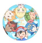 3boys 3girls black_eyes black_hair blonde_hair blue_eyes blue_hair brown_eyes chibi copyright_name green_eyes green_hair kaki_(pokemon) lillie_(pokemon) looking_at_viewer mamane_(pokemon) mao_(pokemon) mei_(maysroom) multiple_boys multiple_girls orange_hair poke_ball_symbol pokemon pokemon_(anime) pokemon_sm_(anime) round_image satoshi_(pokemon) suiren_(pokemon) trial_captain