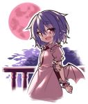 1girl :d bat_wings dress eyebrows_visible_through_hair fang frilled_dress frilled_sleeves frills hair_between_eyes holding_arm lirilias looking_at_viewer medium_hair moon night open_mouth pink_dress pink_frills pointy_ears purple_hair red_eyes red_moon red_nails red_neckwear remilia_scarlet short_sleeves slit_pupils smile solo touhou upper_body wings wrist_cuffs