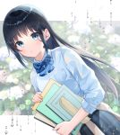 1girl bangs black_hair blue_bow blue_eyes blue_shirt blue_skirt blurry blurry_background blush bow brown_cardigan cardigan cardigan_around_waist closed_mouth clothes_around_waist collared_shirt commentary_request depth_of_field diagonal_stripes dutch_angle eyebrows_visible_through_hair gyozanuko highres holding long_sleeves looking_at_viewer original plaid plaid_skirt school_uniform shirt sidelocks skirt solo striped striped_bow water_drop