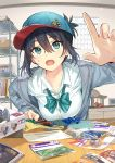 1girl :o aqua_eyes baseball_cap black_hair blue_headwear blush breasts calendar_(object) collared_shirt grey_jacket handcraft hat highres indoors jacket long_sleeves looking_at_viewer medium_breasts open_clothes open_jacket open_mouth original outstretched_hand shelg shirt short_hair sidelocks solo sweat table tan_(tangent) unzipped upper_body white_shirt wing_collar