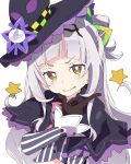 1girl bangs black_capelet black_hairband black_headwear blunt_bangs blush brown_eyes brown_gloves capelet gloves grey_shirt hair_bun hair_ornament hairband hand_up hat hololive ixy long_hair long_sleeves looking_at_viewer murasaki_shion shirt silver_hair simple_background sleeves_past_wrists smile solo star_(symbol) striped striped_shirt tilted_headwear upper_body v-shaped_eyebrows vertical-striped_shirt vertical_stripes virtual_youtuber white_background witch_hat
