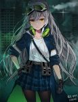 aek-999_(girls_frontline) arm_at_side artist_name bangs belt black_gloves blue_coat breasts building character_name coat collarbone eyebrows_visible_through_hair gingham_skirt girls_frontline gloves goggles goggles_on_head green-tinted_eyewear green_theme grey-framed_eyewear grey_belt grey_hair hair_between_eyes hand_on_hip headphones headphones_around_neck high_ponytail highres kinchee layered_clothing leather leather_gloves long_hair looking_at_viewer open_clothes open_coat outdoors pantyhose parted_lips pleated_skirt pocket popped_collar print_skirt raised_eyebrows sam_browne_belt shirt sidelocks signature silver-framed_eyewear skirt skyscraper sleeve_cuffs sleeves_rolled_up smile source_request sparkle utility_belt very_long_hair wavy_hair white_shirt yellow_eyes