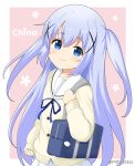 1girl alternate_costume alternate_hairstyle bag bag_charm bangs blue_eyes blue_hair blue_ribbon blush brown_background brown_sweater character_name charm_(object) closed_mouth commentary_request eyebrows_visible_through_hair floral_background gochuumon_wa_usagi_desu_ka? hair_between_eyes hair_ornament kafuu_chino long_hair long_sleeves looking_at_viewer miicha neck_ribbon photoshop_(medium) pleated_skirt ribbon sailor_collar school_bag school_uniform serafuku skirt sleeves_past_wrists smile solo sweater tippy_(gochiusa) twitter_username two-tone_background two_side_up upper_body very_long_hair white_background white_sailor_collar white_skirt x_hair_ornament