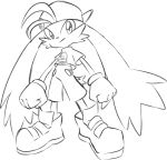 absurdres animal_ears artist_request backwards_hat commentary_request eyes gloves hat headwear highres jeyrolami kaze_no_klonoa klonoa legs lineart pac-man pants pointy_ears shirt shoes sketch smile tail white_background zipper