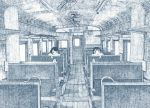 2girls absurdres black_hair crosshatching densya_t door highres monochrome multiple_girls no_nose original seat shelf train_interior window